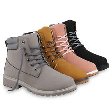 Worker Boots Ladies Outdoor Bootees Grip Sole Leather Look 813096 Schuhe