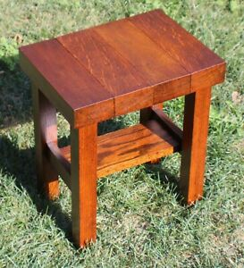 Antique Mission Style Round Side End Table Stickley Roycroft Era c1915 Unmarked