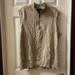 Roundtree & Yorke Men's Beige 1/4 Zip Sweater Vest size L