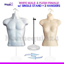2 Torso Mannequins -White Male Flesh Female Dress Body Forms +1 Stand +2 Hangers