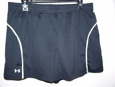 Under Armour Size Large Heat Gear Black Shorts White Stripe with Back Key Pocket