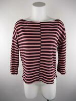 Lou & Grey Women's sz S Purple Pink Striped Boat Neck 3/4 Sleeve Knit Top
