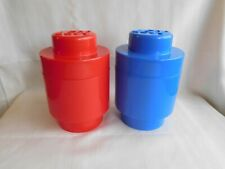Lot of 2 Lego Stackable Storage Brick Round Containers Blue Red