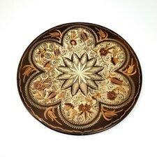 "Handmade Copper Engraved Plate Wall Art Decor Made in Turkey 11"" Vintage 1985"
