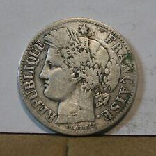 Monnaie france argent silver 2 francs ceres 1871 petit A