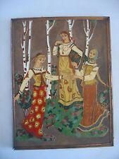 Russian imperial enamel picture art Copper C1920 Bilibine Bilibin ladies maiden
