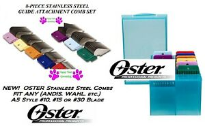 OSTER STAINLESS STEEL BLADE ATTACHMENT GUIDE 8 COMB SET*Fit A5,Many Wahl Clipper