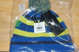 spyder mens icebox hat blue yellow black colored pom interior fleece lining OSFM