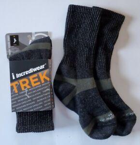 Incrediwear Trek Socks Performance Crew Medium Charcoal Cotton Unisex 2 Pair NEW