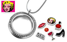 MARILYN MONROE Crystal Memory Locket, Diva Floating Charms, Sterling Pl Necklace