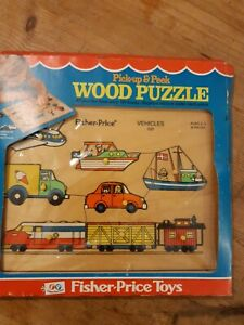Vintage Pick Up And Peek Wood Puzzle, Fisher Price Toys