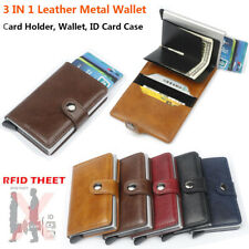 Auto Credit Card Holder Leather RFID Blocking Small Metal Wallet Money Clip UK
