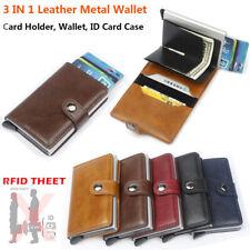 ID de crédito automático de couro porta-cartões RFID bloqueio Carteira De Metal Pequeno clipe de dinheiro