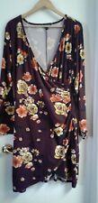 Derek Heart Plus Dress Burgundy Floral Long Sleeved Wrap Over Women's 3X
