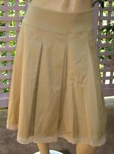 WHITE HOUSE BLACK MARKET Satiny Beige Stretch Pleated/Full Dress Skirt (8) NEW