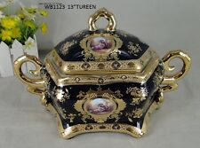 Limoges Style Tureen With Cover   in Cobalt Blue & Gold Romance Design -9""