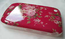 Blackberry 8520 Hard Case-Cover.PINK,FLOWERS-clear trim,clearance sale