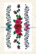 US SELLER, rose butterfly tramp stamp bracelet temporary tattoo fake tatoos
