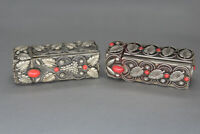 Set of Two Vintage Silver Metal Coral Lipstick Cases with Mirror Made in Italy