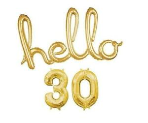 """""""Hello 30"""" Gold Script Foil Balloon, Number Balloons Birthday, Party"""