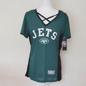 New York Jets Jersey Shirt Green Criss Cross V-Neck L NFL Football Womens New