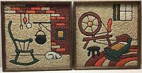 Vintage Mid Century Modern Gravel Mosaic Framed Wall Craft Art