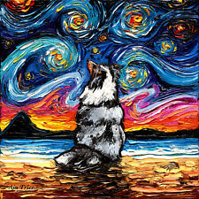 Merle Shetland Sheepdog Sheltie Wall Art Print Dog Starry Night Decor by Aja