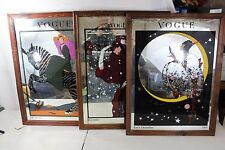 Lot of 3 Vintage Vogue Magazine Framed Mirrors Poster 1919 1926 Mirror