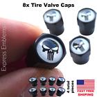 8pcs Punisher Wheel Tire Valve Cap Stem Cover For Bike Car Trucks Atv