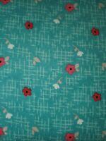 FLANNEL: PANDA LOVE FLORAL AQUA Cotton Flannel Print by RILEY BLAKE BTY