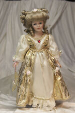Geppedo Porcelain Doll Metalic Gpld Gown W/ Pink Roses
