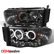 Fits 02-05 Dodge Ram 1500/2500/3500 Smoke Dual CCFL LED Projector Headlights
