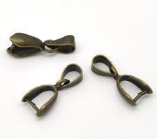 25 Fermoirs clip Pince bélière Bronze 7x17mm
