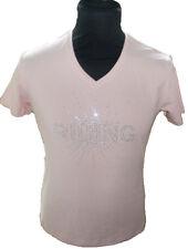 Equi Theme Ladies Riding Diamonte Equestrian Tshirt - Pink