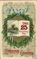 WINSCH CHRISTMAS GREETINGS HOLLY  DEC 25 1910 POSTCARD