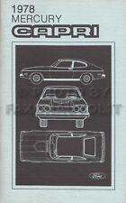 1978 Mercury Capri Owners Manual 78 New Old Stock Original Owner Guide Book
