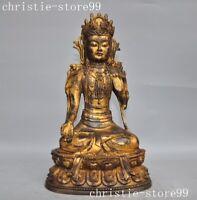Old Tibet bronze Gilt Tara Kwan-yin Guanyin Enlightenment goddess Buddha Statue