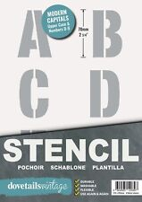 """ALPHABET STENCIL LETTERS / NUMBERS 70mm tall (2.75"""" ) 6 x Sheets Modern CAPITALS"""