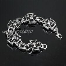 Mens Stainless Steel Iron Cross Skull Bracelet Chain Bangle Rock Biker Jewelry