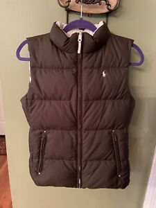 NWOT Girl's Reversible Brown & Ivory Down Puffer Vest Size XL 16