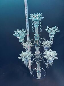 7 Tier Lotus CANDLE HOLDER Crushed Diamond Silver Crystals Filled Romany Bling
