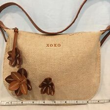 XOXO Fall Mini Hobo Purse Zipper Front Flowers Accent Handbag Brown Tan