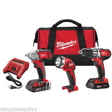 "Milwaukee 2691-23 M18 3/8"" Drive Compact Impact Wrench 1/2"" Drill Driver Combo"