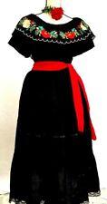 5 de Mayo Mexican Black Dress 3 pc w/sash Chiapas Floral Adelita Wedding  vtg 2X