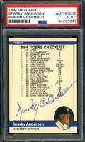 Sparky Anderson Signed PSA DNA Coa 1984 Fleer Autograph