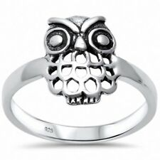 Lucky Owl Ring Band 925 Sterling Silver