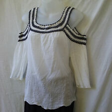 Living Doll Sz 10 NEW Cold Shoulder Top Crinkle Cotton White+Grey Crochet Casual