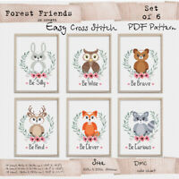 Woodland animals Baby boy nursery sign quote Cross stitch PDF Pattern #161