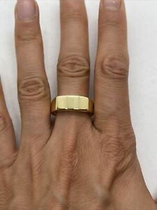 Vintage GHCJ 18k yellow gold signet long tag band ring 8mm wide 11.2g heavy fine