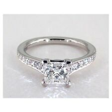 1.25 Cts VS2 H Princess Cut Real Diamond Engagement Ring 18k White Gold